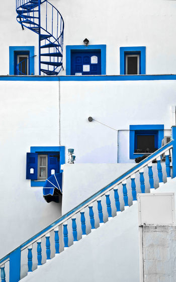 Architecture Blue Blue Accent Blue Awening Blue Sky Building Exterior Façade Greece Greek Islands No People Shades Of Blue Spiral Staircase White Building With Blue S Whatwhowhere Pattern Pieces