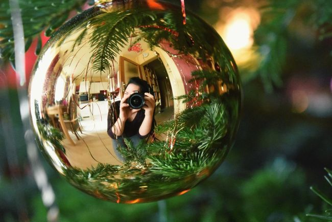Xmas 2017 Green Color Christmas Ball Christmas Tree Nikon D3400 Dreadlocks Reflection Focus On Foreground Close-up Tree Technology Outdoors Day Photographing People