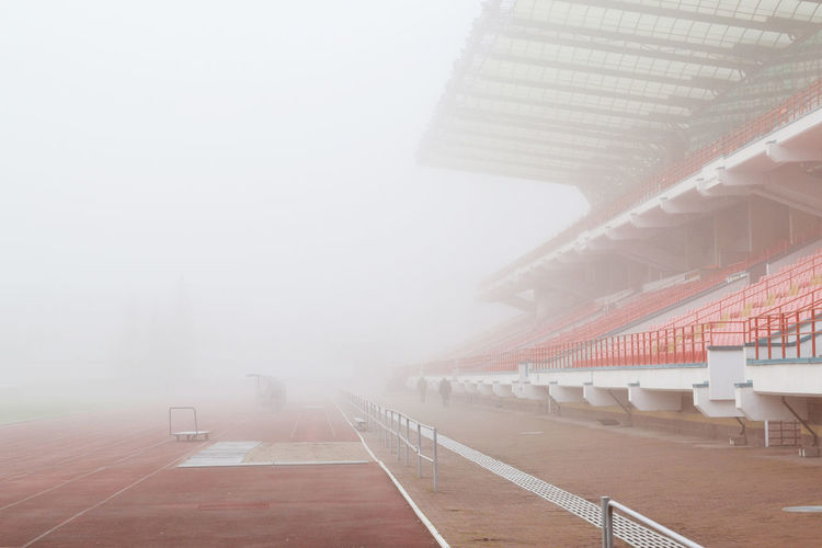 Atmosphere Autumn Belarus Foggy Weather Stadium Winter Absence Architecture Atmospheric Mood Atmospheric Nature Day Europe Fog Foggy Nature No People Snow Sport