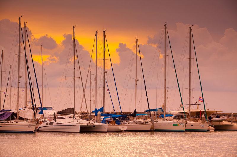 Yachts. Bay Boats Cloud Club Dusk Evening Habor Marina Ocean Sea Ships Sky Sunset Twilight Yachts