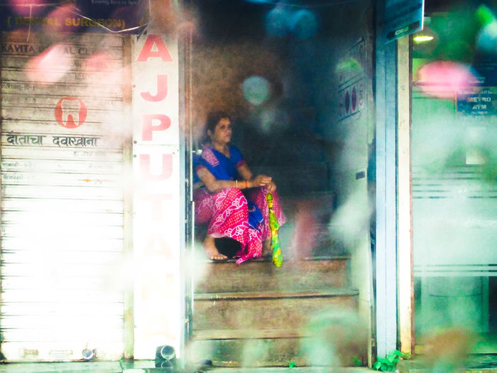 just waiting Sneak Peek. Waiting For You Out Of Focus adventures in the city Monsoon Rainy Days Waiting Umbrella Dreaming Color Saree City Multi Colored Women