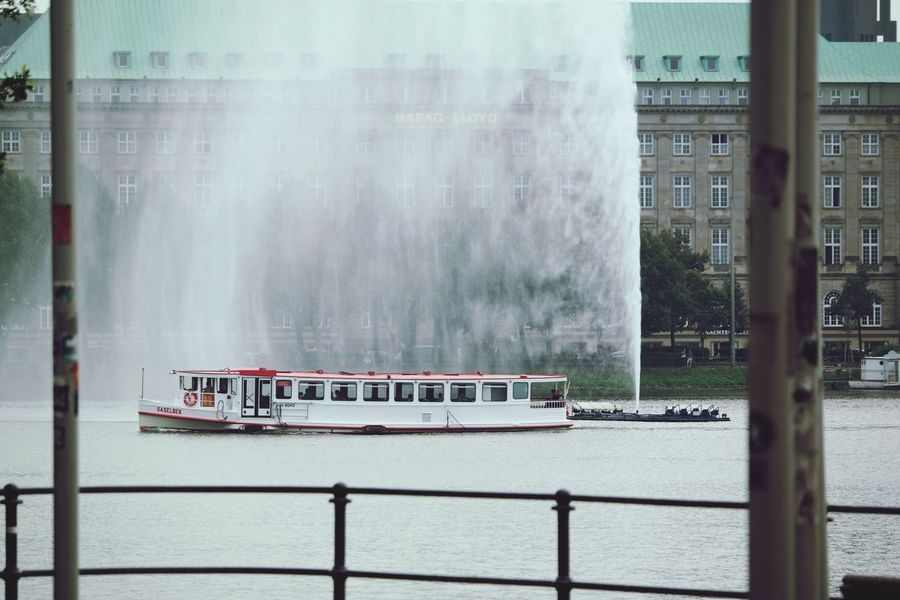 Tourist Boat Trip Alster Hamburg Water Transportation Nautical Vessel Building Exterior Waterfront Day Outdoors Fountain Adapted To The City