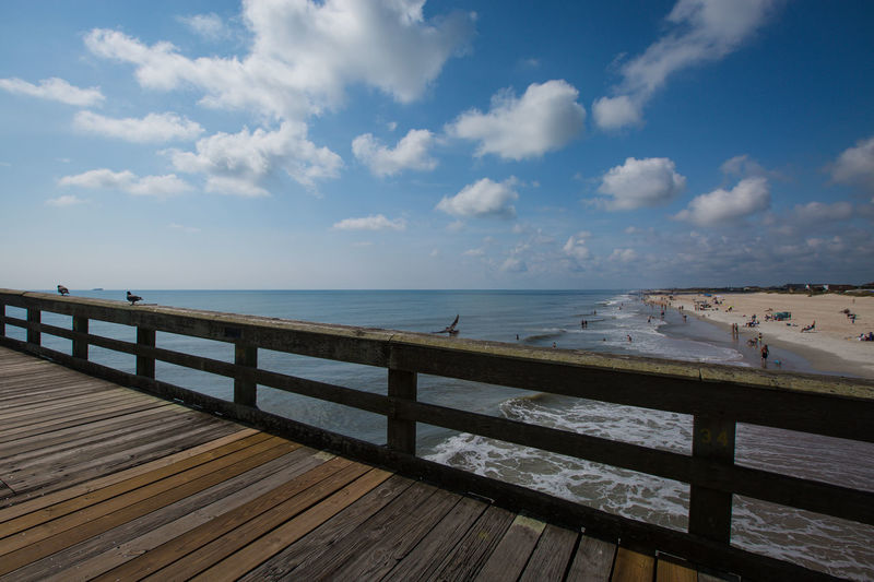 Atlantic Ocean Beach Beauty In Nature Boardwalk Cloud Cloud - Sky Day Leading Lines Nature Ocean View Outdoors Perspective Scenics Sky Tranquility Ultra Wide Angle Water