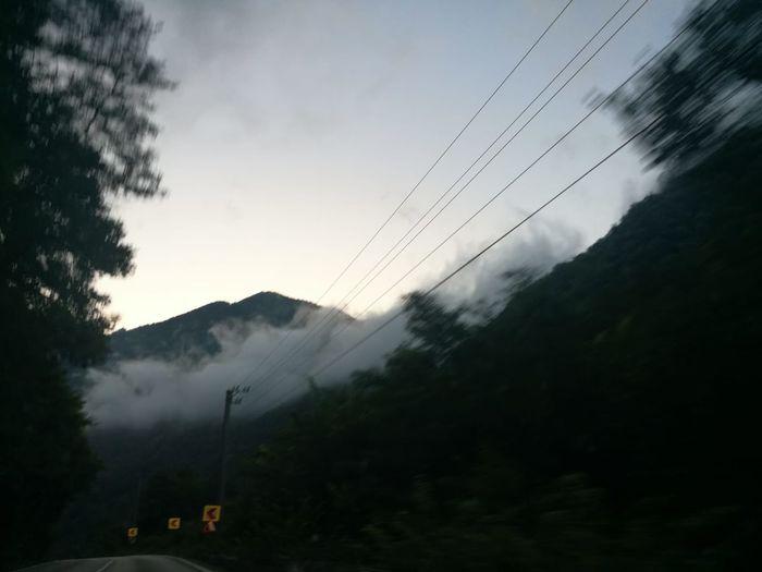 Tree Mountain Fog Electricity Pylon Cable Mountain Peak Sky Mountain Range Cloud - Sky