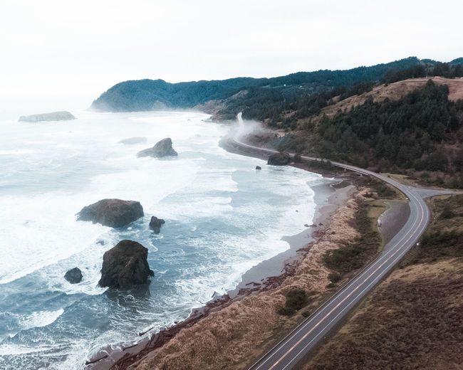 Beautiful Oregon! Beauty In Nature Water Land Sea Nature Day Outdoors PNW Oregon Drone  Dji Samuelboard Highway Scenics Travel Explore Travel Destinations Coast Oregoncoast Moody Sky Hues