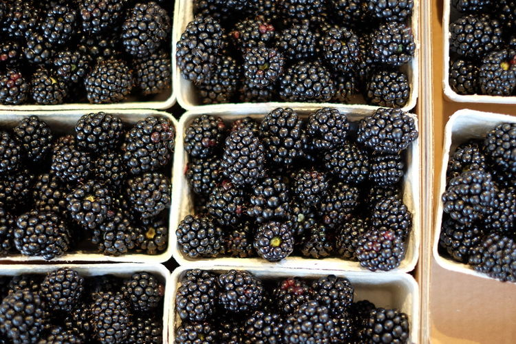 High angle view of blackberries displayed at market