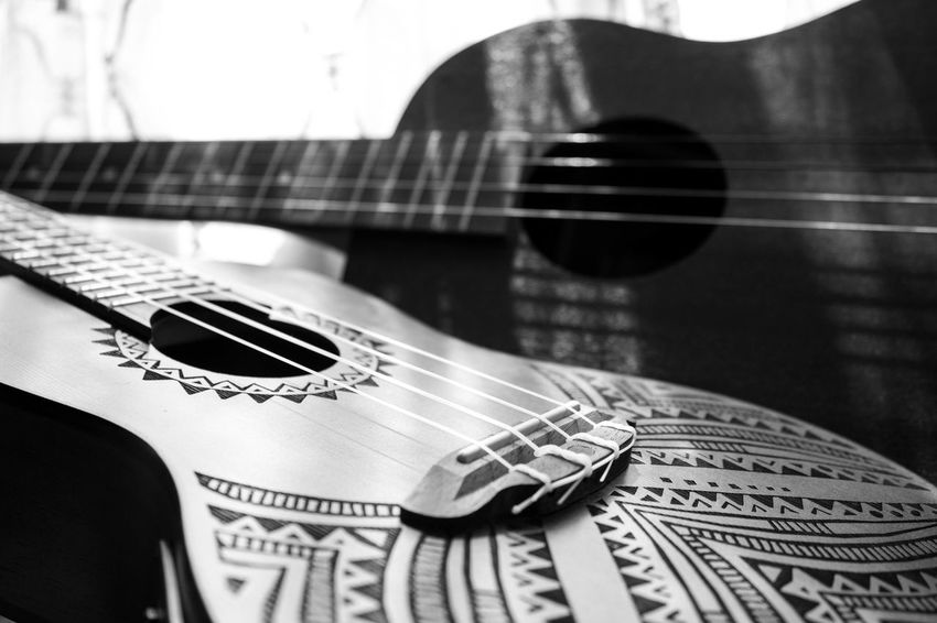 Black And White Contrast Curtains Focus On Foreground Guitar Indoors  Light Patterns Man Made Object Modern No People Sunlight Ukelele