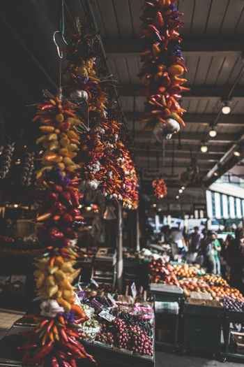 Christmas decorations at market stall