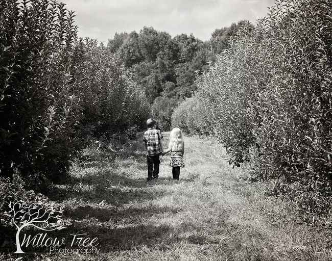 Brother and sisterly love Tadaa Community Apple Orchard Black & White Mono Chrome