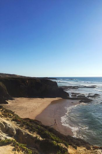 Clear Sky Tranquil Scene Scenics Copy Space Water Tranquility Beauty In Nature Blue Sea Nature Tourism Travel Travel Destinations Rock Formation Non-urban Scene Cliff Geology Day Outdoors Costa Vicentina Alentejo Coastline Almograve Portugal Beachphotography