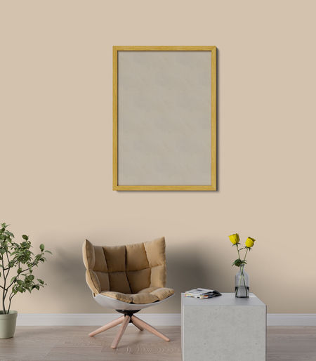 Mock up poster in living room Wall - Building Feature Indoors  No People Table Seat Copy Space Absence Home Interior Vase Frame Empty Chair Picture Frame Plant Flooring Domestic Room Nature Still Life Wood - Material Paintings Blank Luxury Living Room