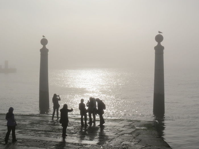 Bird Dockside Fog Foggy Foggy Day Historical Sights History Horizon Over Water Lisboa Lisboa Portugal Lisbon Seagulls Silhouette Simplicity Sky Sunset Water