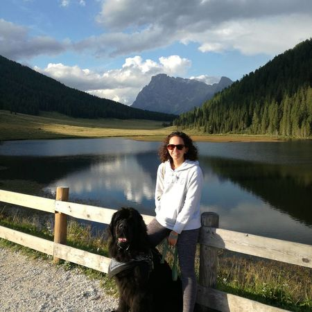 Lake Water Mountain Dog Adult Only Women Reflection Mature Adult One Woman Only One Person Pets Newfoundland Dog Newfy Togetherness Lovehim Walking Around Weekend Weekend Trip