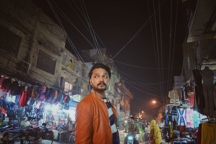 Portrait Celebration One Person Men Illuminated Confidence  Low Angle View Beard Night Me Pakistan Vintage Faded Ambience Bazaar Rawalpindi