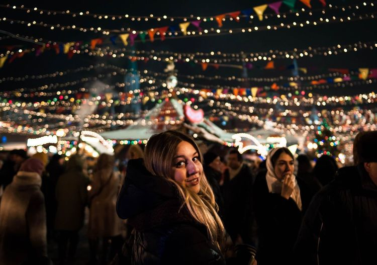 Red square new year fair Beautiful People Young Women Arts Culture And Entertainment Night People Smiling Beautiful Woman Nightlife Outdoors Warm Clothing New Year Around The World New Year's Eve New Year Fair Fair Russia Russian Tradition