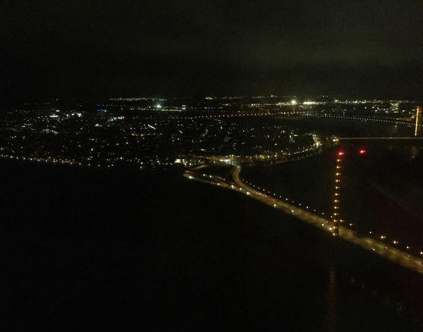 River Rhein Perspective Tower Overview Enjoying The View Nightphotography Cityscapes Darkness And Light Night Lights Night Bridge Water Rhine Rheinufer