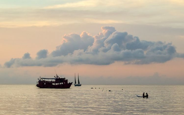 Nautical Vessel Water Sky Transportation Sea Mode Of Transportation Cloud - Sky Tranquility Fishing Industry Occupation Horizon Over Water Sailing Outdoors Ship Travel Waterfront Nature Scenics - Nature Sunset Beauty In Nature