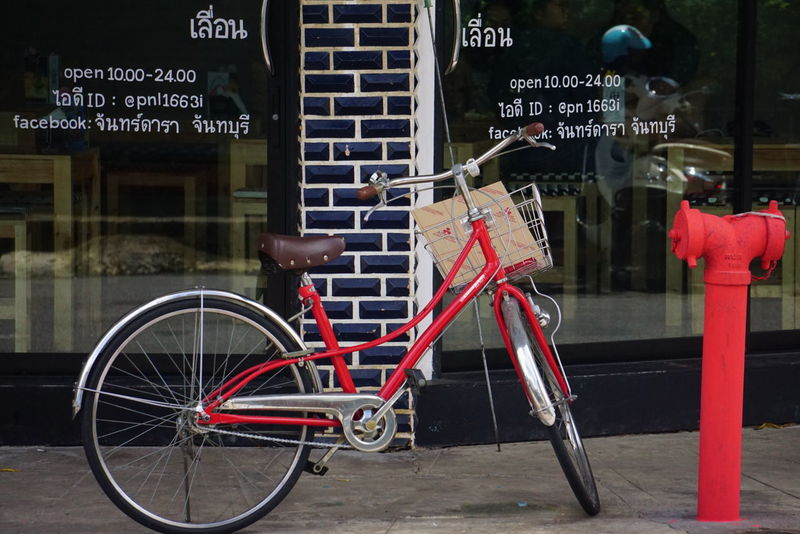จักรยานสีแดง Bicycle Red Bicycles Red Taking Photos Enjoying Life Colorful Thailand Holiday
