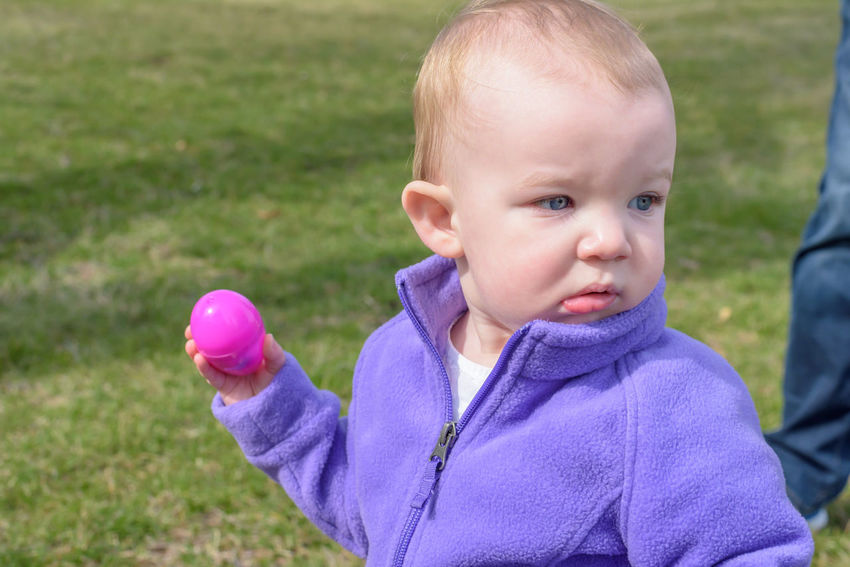 little kids having fun at Easter egg hunt outside Children Easter Easter Egg Hunt Event Fun Activity Baby Child Childhood Cute Day Front View Grass Headshot Innocence Kid Looking Away Nature One Person Park Plastic Easter Eggs Portrait Real People Toddler  Young