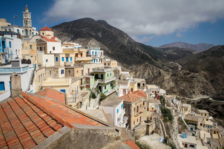 Olympos village Building Exterior Architecture Built Structure Mountain Building Residential District Town Cloud - Sky Sky House Nature Mountain Range Day No People Roof High Angle View Outdoors Community TOWNSCAPE Village