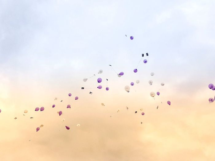 Hab nen Luftballon gefunden...🎵🎈 💜 Flying Nature Die Kleinen Dinge Im Leben Head Ahead Luftballons Flying High Balloon Lookingup Sky Be. Ready. Have A Nice Week! Wishes Good Wishes Large Group Of Objects Kopfhoch Simple Beauty Simple Things In Life In The Air Pastel Power The Week On EyeEm 99 Luftballons Purple