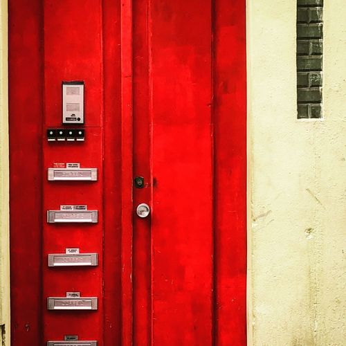 Red passion Red Protection Safety Security Architecture Built Structure No People Entrance Wall - Building Feature Technology Building Exterior Day Closed Door Locker Lock Building Communication Push Button