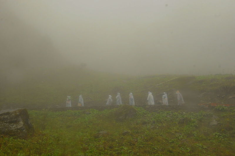 Rainy Days Beauty In Nature Cemetery Day Field Fog Foggy Foggy Morning Grass Hazy  Kedarnath Kedarnath Mountains Landscape Mist Nature No People Outdoors Raning Day Sky Tranquility Tree Trekkers Connected By Travel