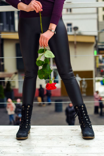 Low section of woman holding rose flower upside down standing outdoors