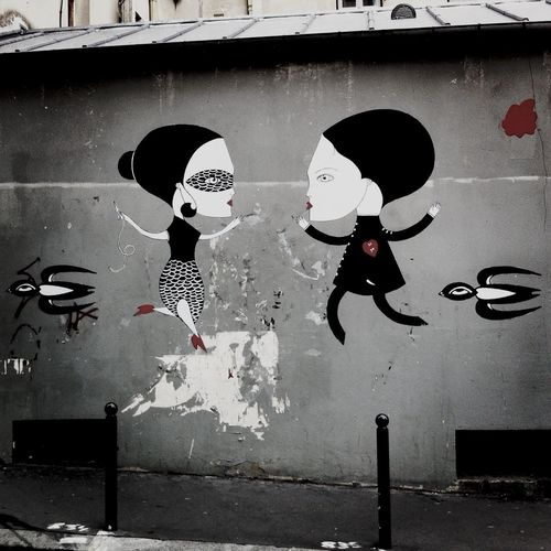 Paris Streetart Fred Le Chevalier Tango's Lovers By Fred Le Chevalier