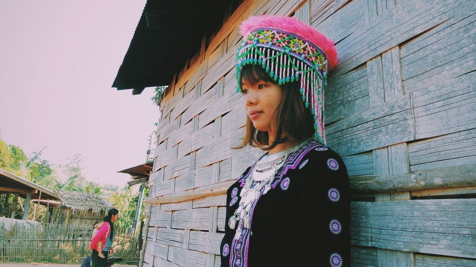 Asian Culture When my sis wear PhaowMong suite (at Ampeo Mae ChaRim in nothern of Thailand) Thailand