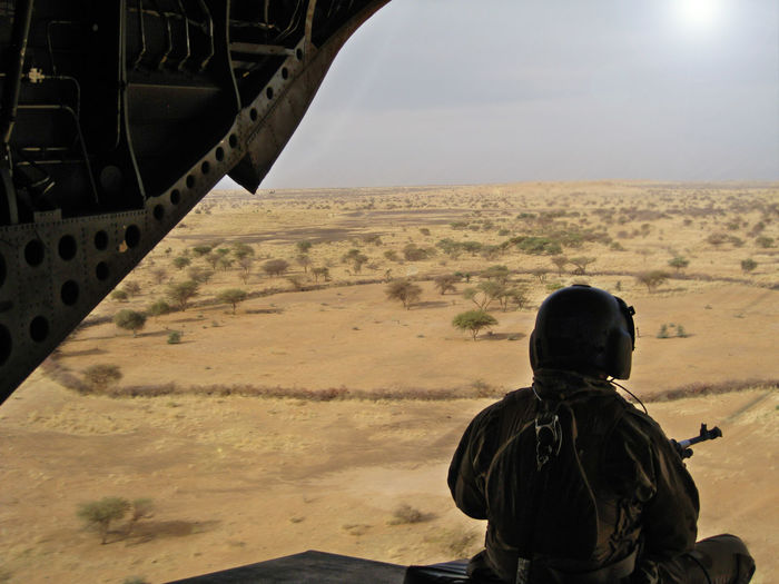 Chinook Dessert Door Gunner Helicopter Landscape Outdoors Rear View Sky EyeEmNewHere Airforce Mali Army Flight Barkhane