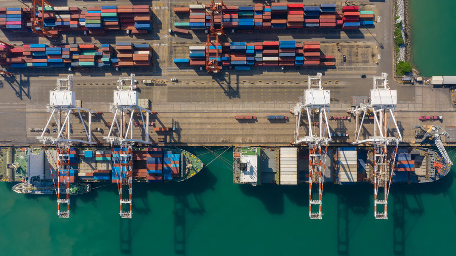 Container ship terminal, and quay crane of container ship at industrial port