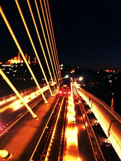 Illuminated Night Traffic Road Transportation Car Light Trail Motion Street Long Exposure City No People Outdoors Cityscape Sky Goldenhorn Bridge Haliçmetroköprüsü Haliç Speed