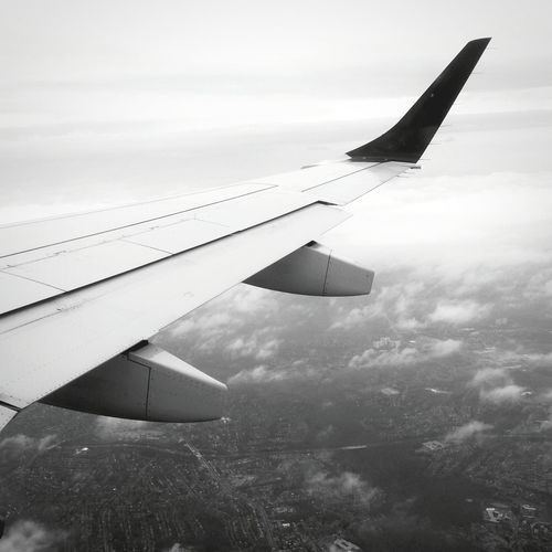 Flight Black And White No People The Way Forward Travel Photography Travel Plane Wing Plane Window View