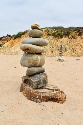 stonemen stone Steinmännchen Stone Rock Solid Land Beach Nature No People Water Rock - Object Balance Beauty In Nature Scenics - Nature Sky Stone - Object Tranquility Tranquil Scene Pebble Stonemen Atlantic Ocean