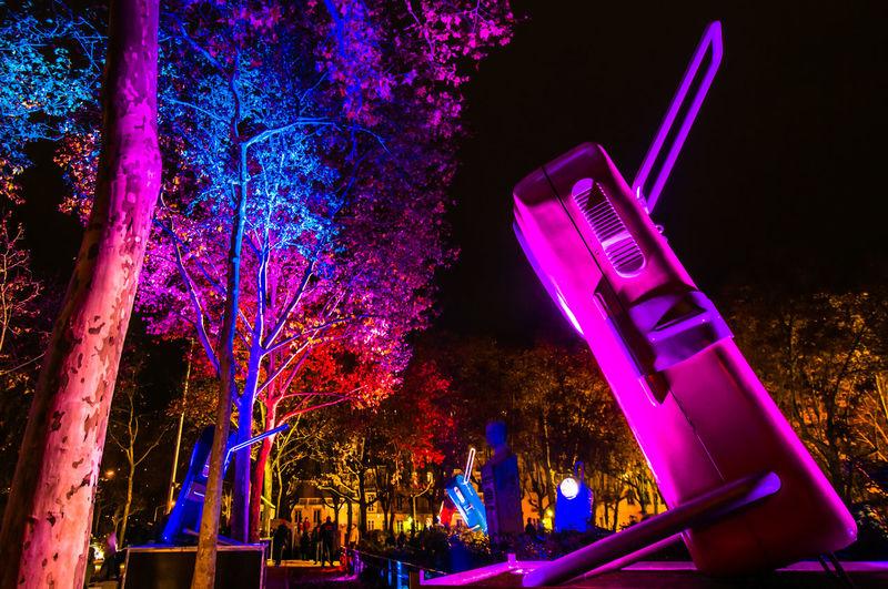 Biglamp Blue Color Colors Festival Festival Of Lights France Lamp Lamps Lyon Pink Red Street Tree Trees Urban