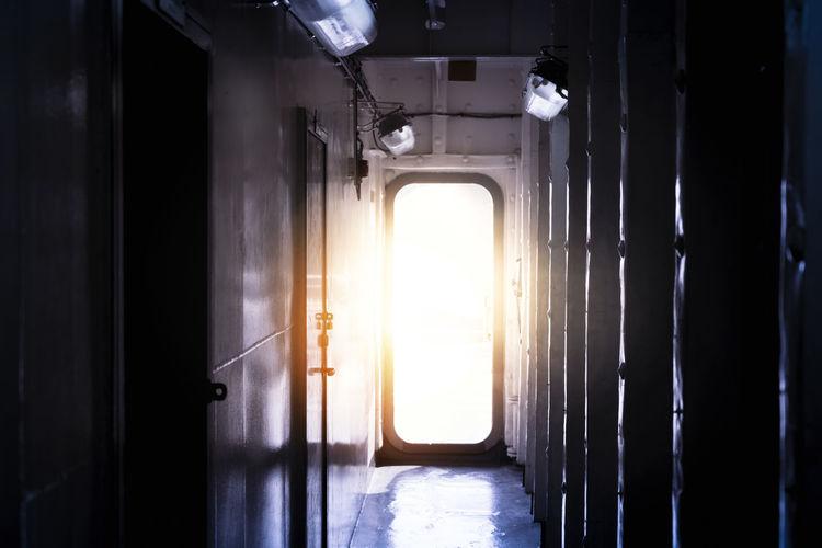 Sunlight streaming through window of building