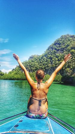 Live For The Story Thailand Krabi Beauty In Nature Sky Water One Person One Woman Only Vacations Relaxation Summer Sea Beach Sand Day Nature LandscapeGreen Brautiful View Boattrip Islandlife Island
