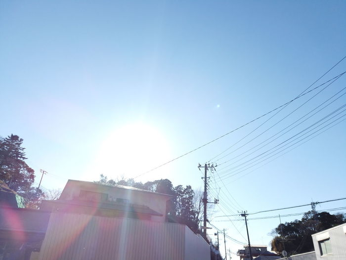 Nature Outdoors Trees Green Abstract Japan Sky Sunlight Cable Low Angle View Architecture Building Exterior Sun Lens Flare Sunbeam Electricity  Clear Sky Built Structure Power Line  Day No People Connection Technology Building Sunny Power Supply Telephone Line Brightly Lit Solar Flare