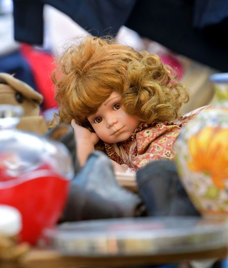Close-up of doll for sale at market