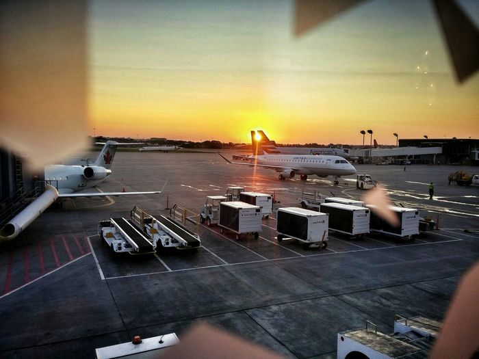 Glitch Lensflare Sunrise Airport Early Morning