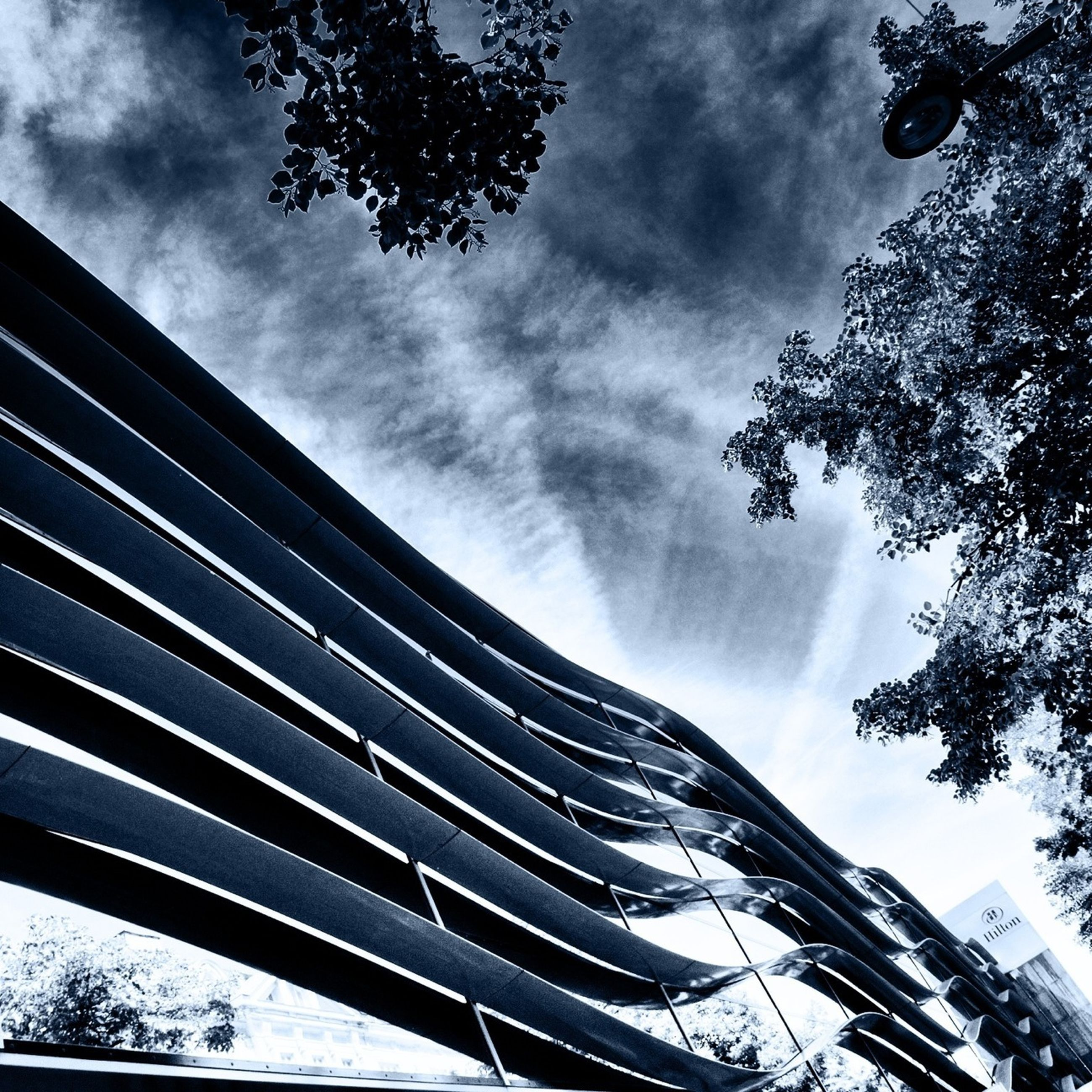 low angle view, sky, tree, built structure, building exterior, architecture, cloud - sky, cloudy, branch, cloud, bare tree, outdoors, day, building, nature, no people, city, weather, growth, high section