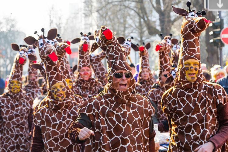 Koenigsallee, Duesseldorf, Germany Carnival Colors Of Carnival Deutschland Duesseldorf Düsseldorf Fasching Fun Germany Giraffen Giraffes Helau Karneval NRW Stampede Carnival Crowds And Details