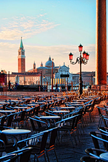 Table and chairs at st mark square