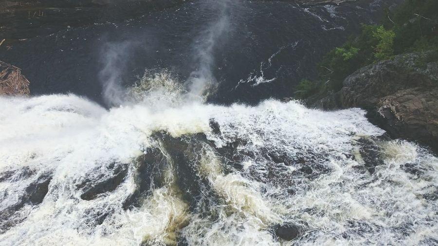 View of water splashing on rocks