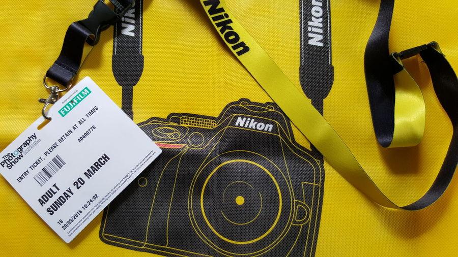 The Photography Show 2016 Birmingham UK Nikon Bag Free Freebie I Am Nikon Lanyard Ticket Pass Camera Design Yellow Yellow Bag Marketing Promoting Best Stand