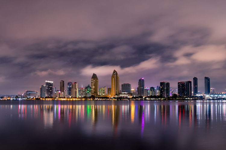 Downtown San Diego and Bay City Night Cloudy Downtown San Diego Water Waterfront California Long Exposure West Coast Dark Latte Beautiful Builiding No People Urban Skyline Capture Tomorrow My Best Photo
