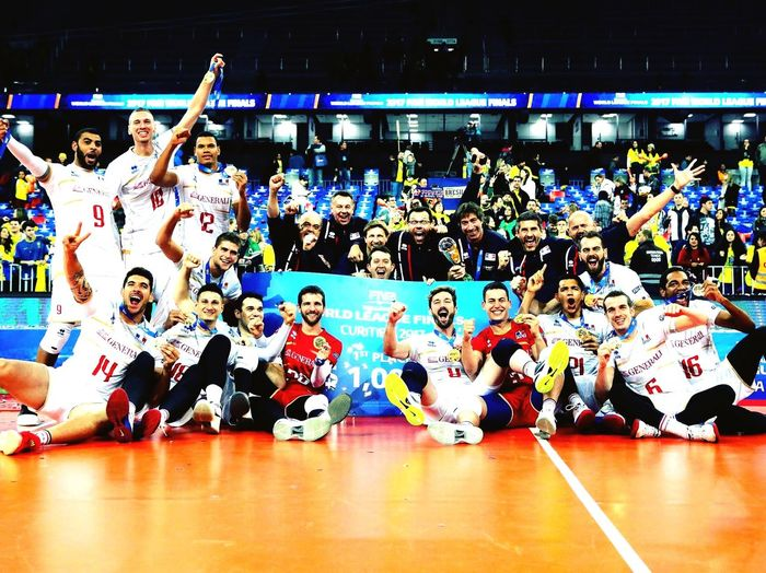 World League 2017 🥇 Code Million Winner Team Yavbou France🇫🇷 Volleyball Arms Raised Large Group Of People Arts Culture And Entertainment Music Performance Crowd Dancing