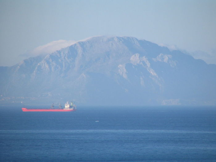 Container ship sailing in sea by mountain against sky