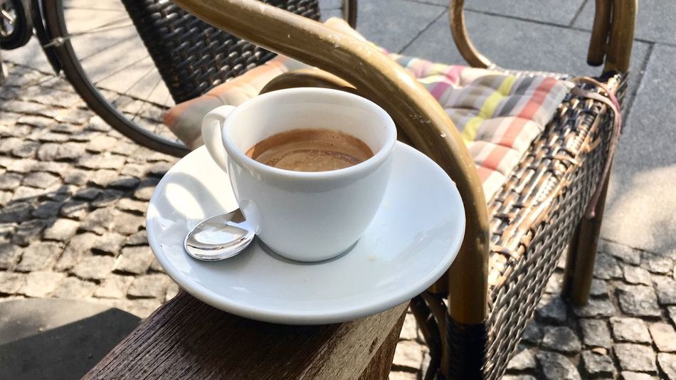 Café Impala Espresso Close-up Coffee Coffee - Drink Coffee Cup Crockery Cup Day Drink Food And Drink High Angle View Hot Drink Kitchen Utensil Mug No People Non-alcoholic Beverage Outdoors Refreshment Saucer Spoon Still Life Sunlight Table